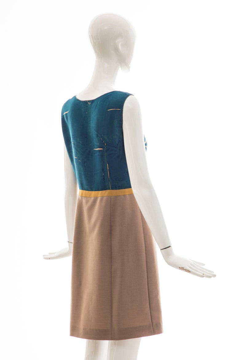 Prada Runway Sleeveless Silk Mohair Dress Applique Parrot Motif, Spring 2005 For Sale 2