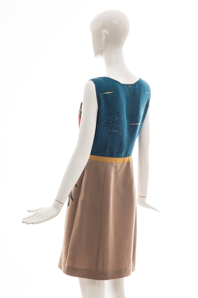 Prada Runway Sleeveless Silk Mohair Dress Applique Parrot Motif, Spring 2005 For Sale 3