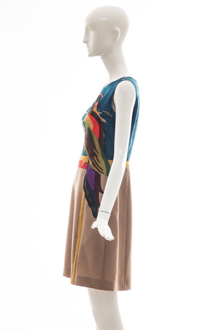Prada Runway Sleeveless Silk Mohair Dress Applique Parrot Motif, Spring 2005 For Sale 4