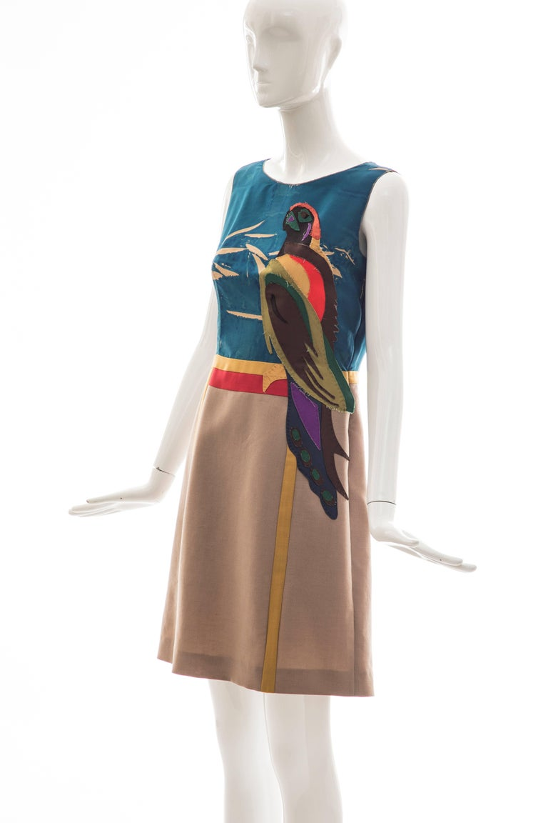 Prada Runway Sleeveless Silk Mohair Dress Applique Parrot Motif, Spring 2005 For Sale 5