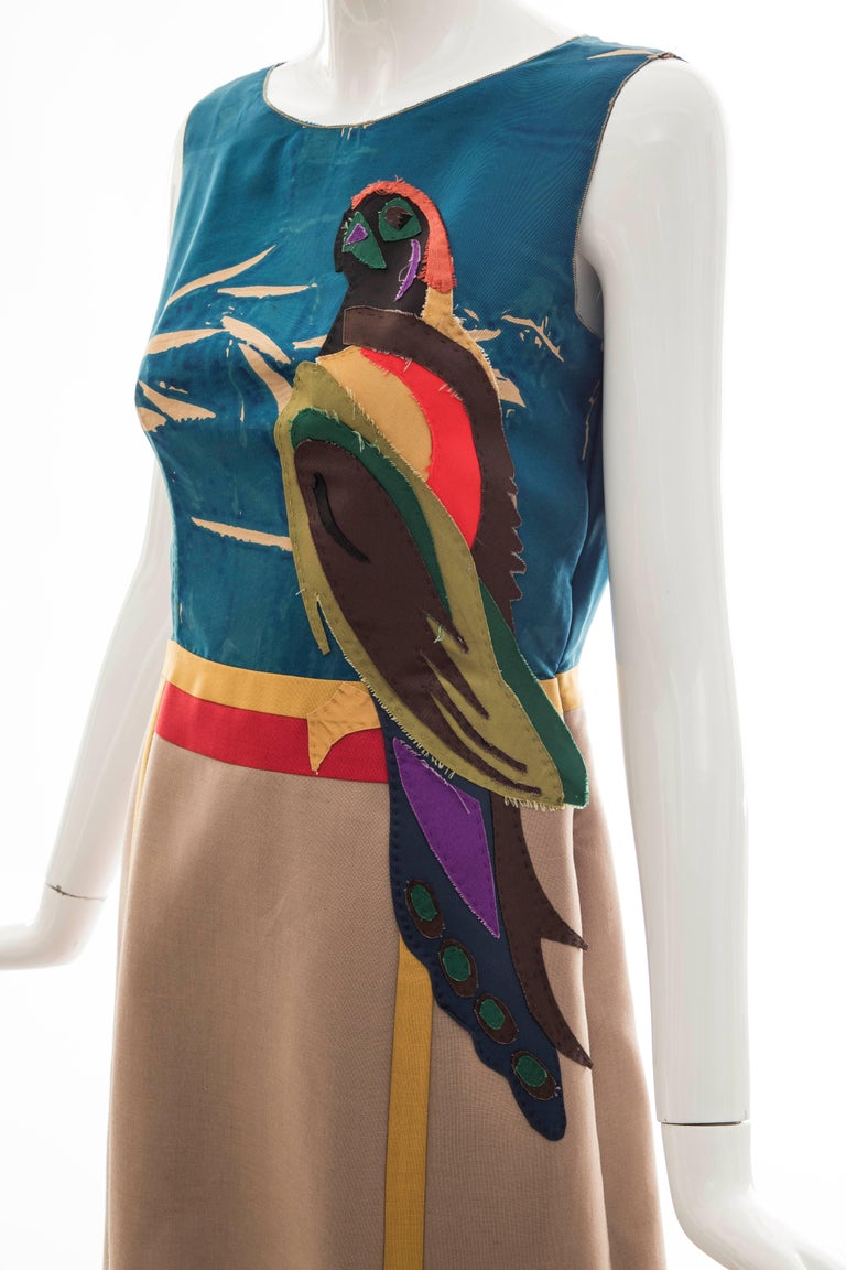 Prada Runway Sleeveless Silk Mohair Dress Applique Parrot Motif, Spring 2005 For Sale 6