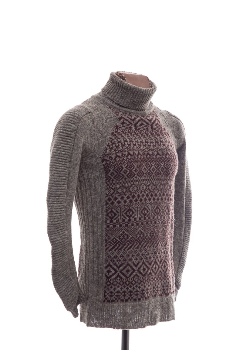 Gray Raf Simons History of My World Wool Knit Sweater, Autumn - Winter 2005 - 2006 For Sale
