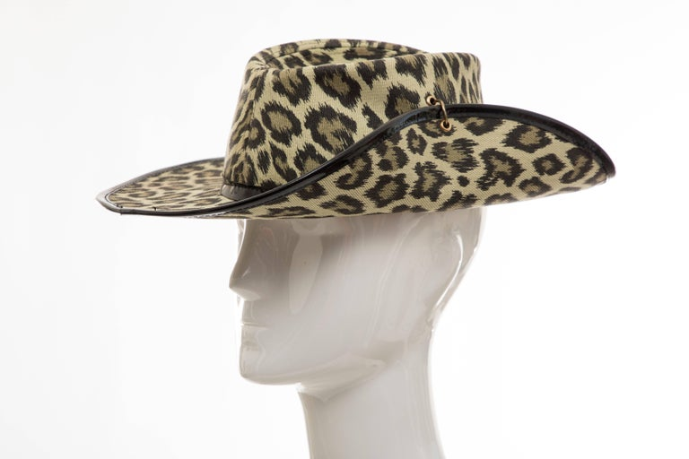 Junior Gaultier Cotton Leopard Print Hat Black Patent Leather, Circa 1980's In Excellent Condition For Sale In Cincinnati, OH