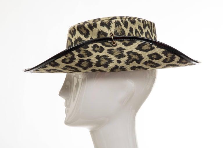 Women's or Men's  Junior Gaultier Cotton Leopard Print Hat Black Patent Leather, Circa 1989 For Sale