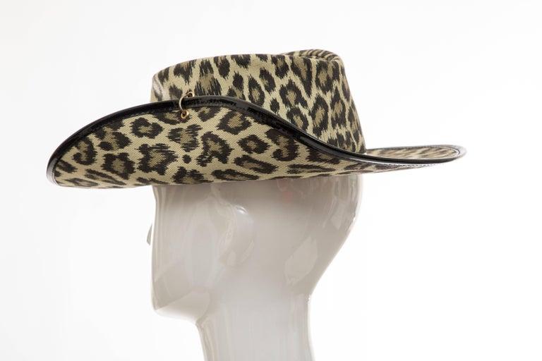 Junior Gaultier Cotton Leopard Print Hat Black Patent Leather, Circa 1989 For Sale 1