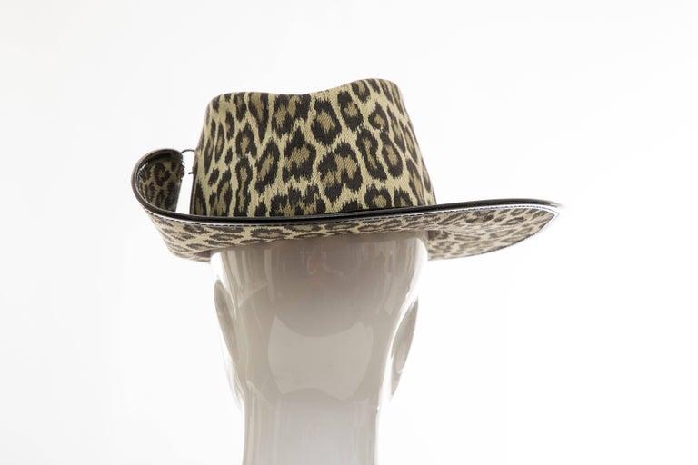 Junior Gaultier Cotton Leopard Print Hat Black Patent Leather, Circa 1989 For Sale 2