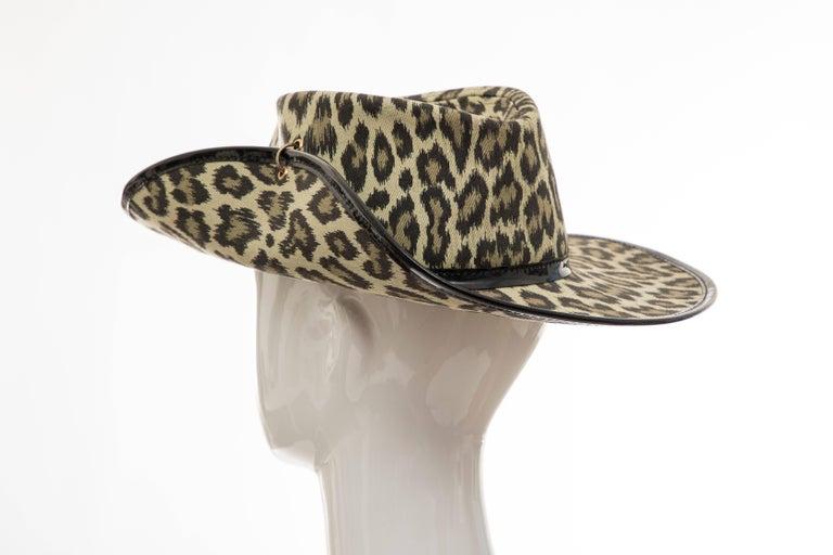 Junior Gaultier Cotton Leopard Print Hat Black Patent Leather, Circa 1989 For Sale 3