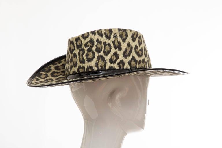 Junior Gaultier Cotton Leopard Print Hat Black Patent Leather, Circa 1989 For Sale 4