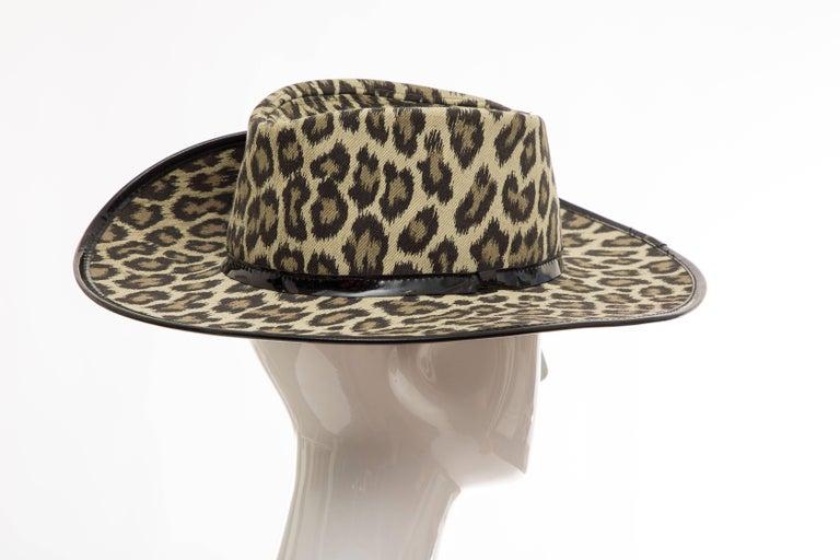 Junior Gaultier Cotton Leopard Print Hat Black Patent Leather, Circa 1989 For Sale 5