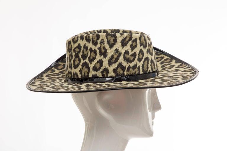 Junior Gaultier Cotton Leopard Print Hat Black Patent Leather, Circa 1989 For Sale 6