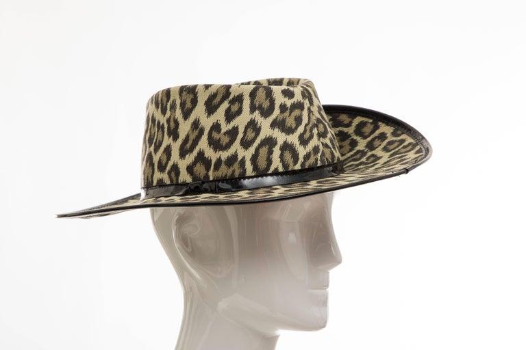 Junior Gaultier Cotton Leopard Print Hat Black Patent Leather, Circa 1989 For Sale 7
