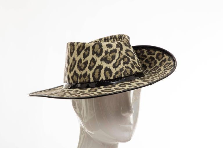Junior Gaultier Cotton Leopard Print Hat Black Patent Leather, Circa 1989 For Sale 8