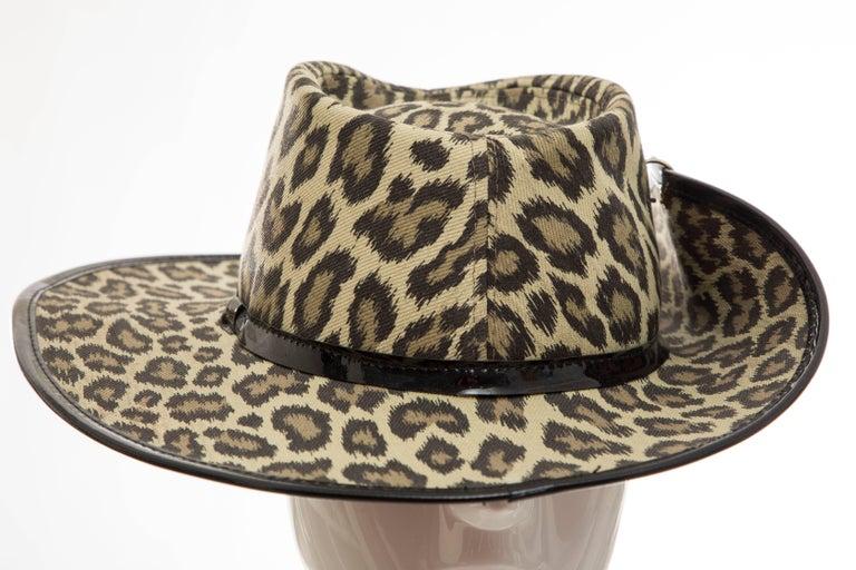 Junior Gaultier Cotton Leopard Print Hat Black Patent Leather, Circa 1989 For Sale 9