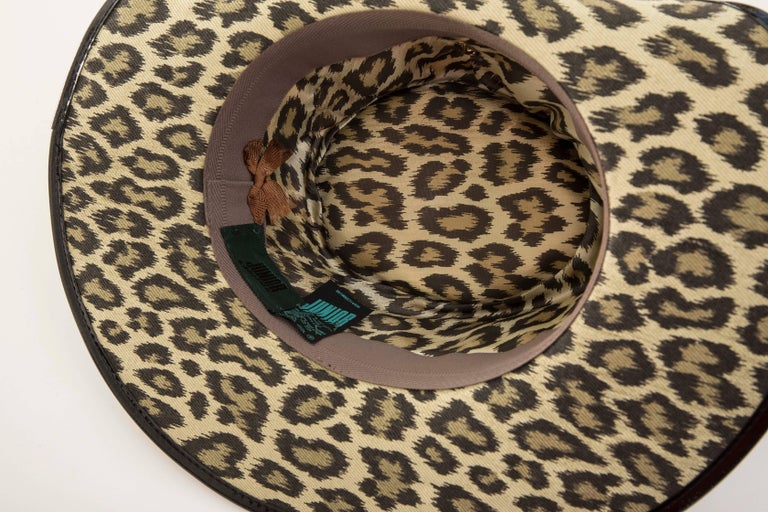 Junior Gaultier Cotton Leopard Print Hat Black Patent Leather, Circa 1989 For Sale 10