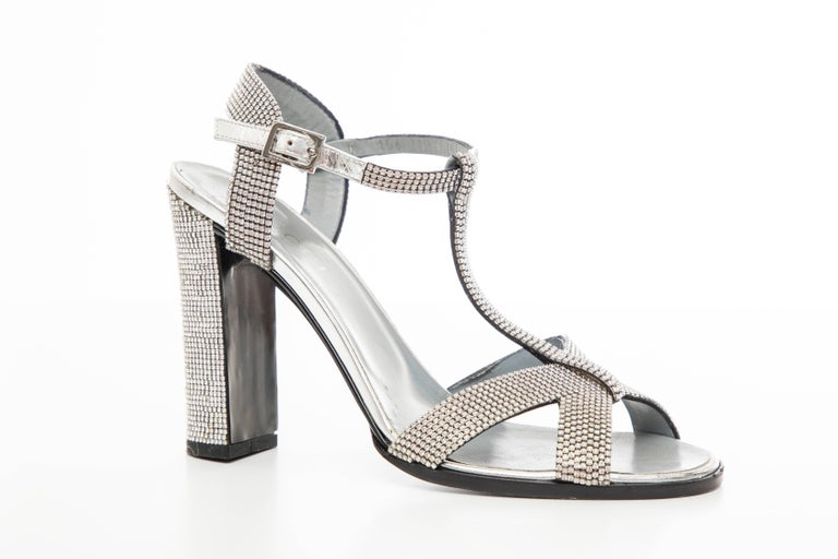 Women's Tom Ford For Gucci Runway Metallic Silver Crystal T-Strap Sandals, Spring 2000 For Sale