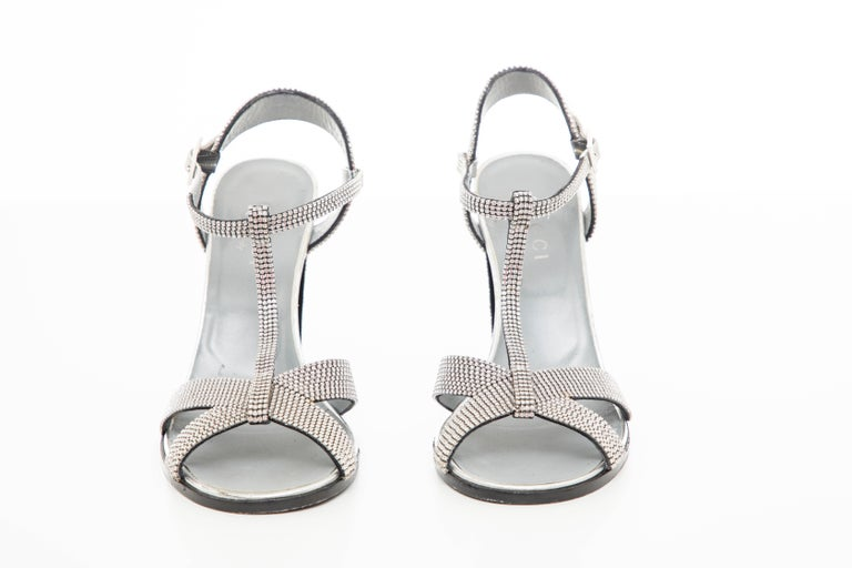 Tom Ford For Gucci Runway Metallic Silver Crystal T-Strap Sandals, Spring 2000 For Sale 7