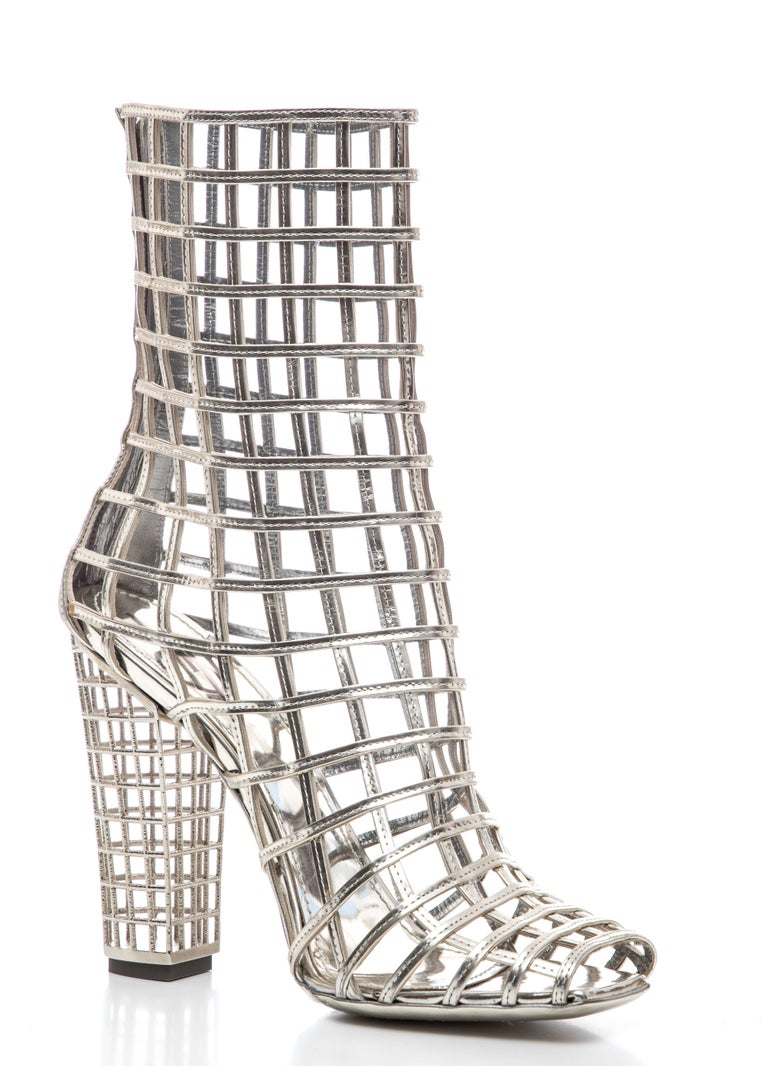 Yves Saint Laurent Silver Metallic Leather Caged Ankle Boots, Spring 2009 For Sale 1