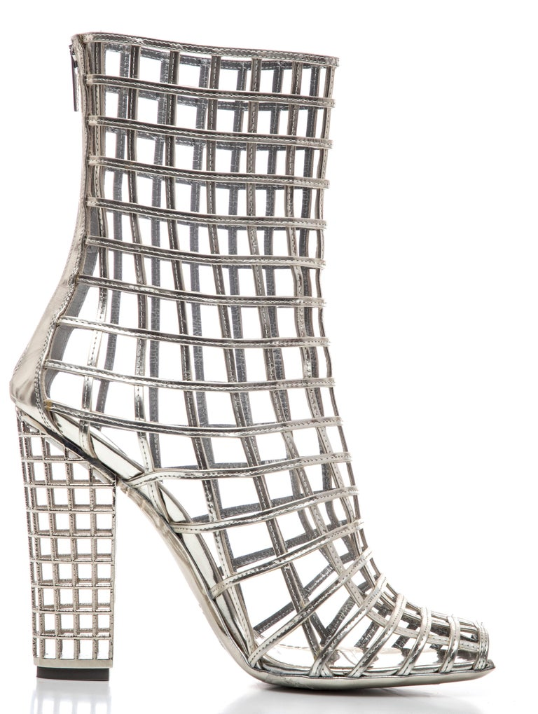 Yves Saint Laurent Silver Metallic Leather Caged Ankle Boots, Spring 2009 For Sale 2