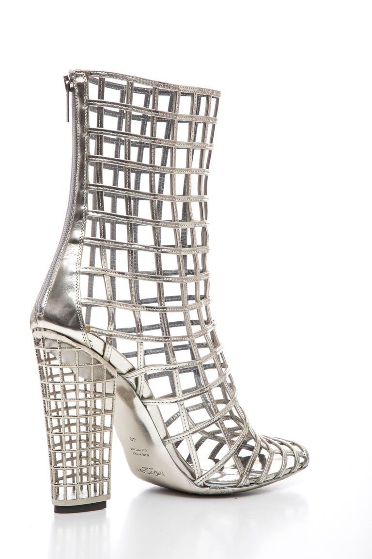 Yves Saint Laurent Silver Metallic Leather Caged Ankle Boots, Spring 2009 For Sale 3