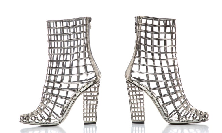 Yves Saint Laurent Silver Metallic Leather Caged Ankle Boots, Spring 2009 For Sale 5