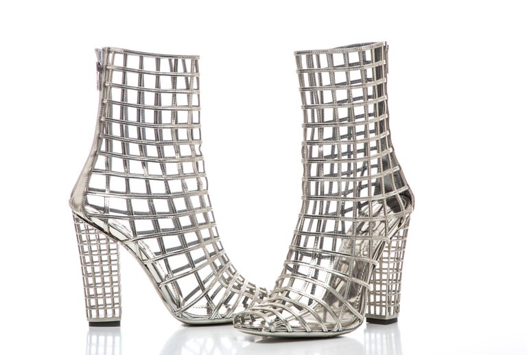 Yves Saint Laurent Silver Metallic Leather Caged Ankle Boots, Spring 2009 For Sale 6