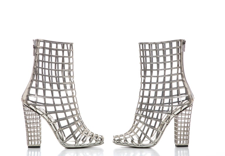 Yves Saint Laurent Silver Metallic Leather Caged Ankle Boots, Spring 2009 For Sale 7