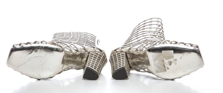 Yves Saint Laurent Silver Metallic Leather Caged Ankle Boots, Spring 2009 For Sale 9