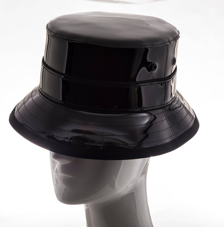Givenchy Riccardo Tisci, Spring 2017 men's runway black patent leather bucket hat.  Designer size 59.  Circumference: 23.25, Brim: 2