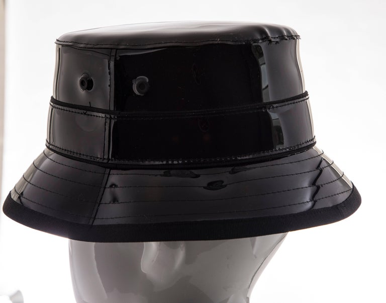 Givenchy Riccardo Tisci Runway Men's Black Patent Leather Bucket Hat,Spring 2017 For Sale 3