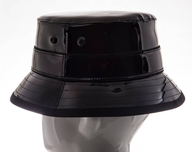 Givenchy Riccardo Tisci Runway Men's Black Patent Leather Bucket Hat,Spring 2017 For Sale 4