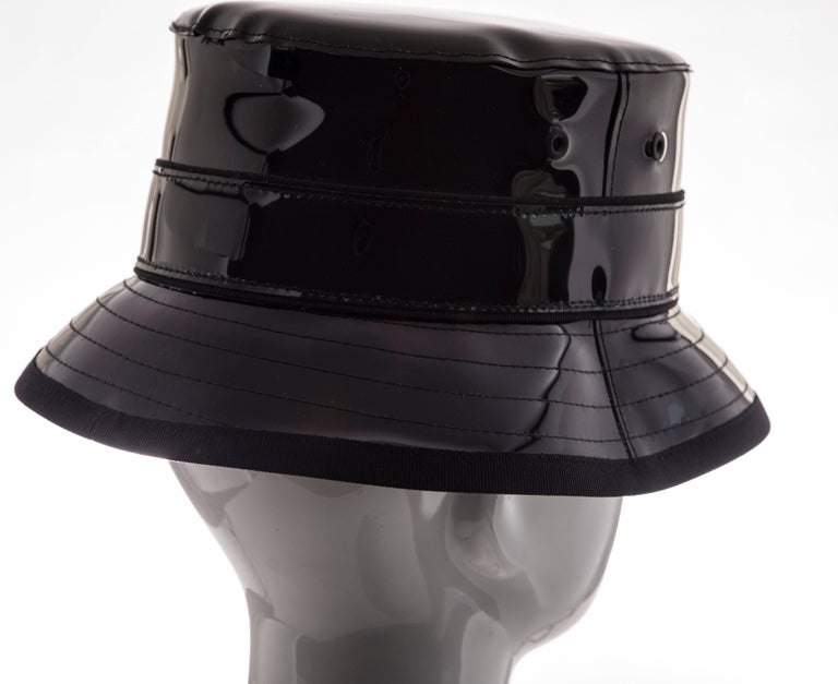 Givenchy Riccardo Tisci Runway Men's Black Patent Leather Bucket Hat,Spring 2017 For Sale 6
