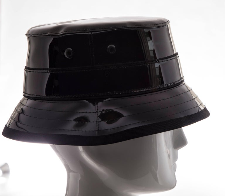 Givenchy Riccardo Tisci Runway Men's Black Patent Leather Bucket Hat,Spring 2017 For Sale 7