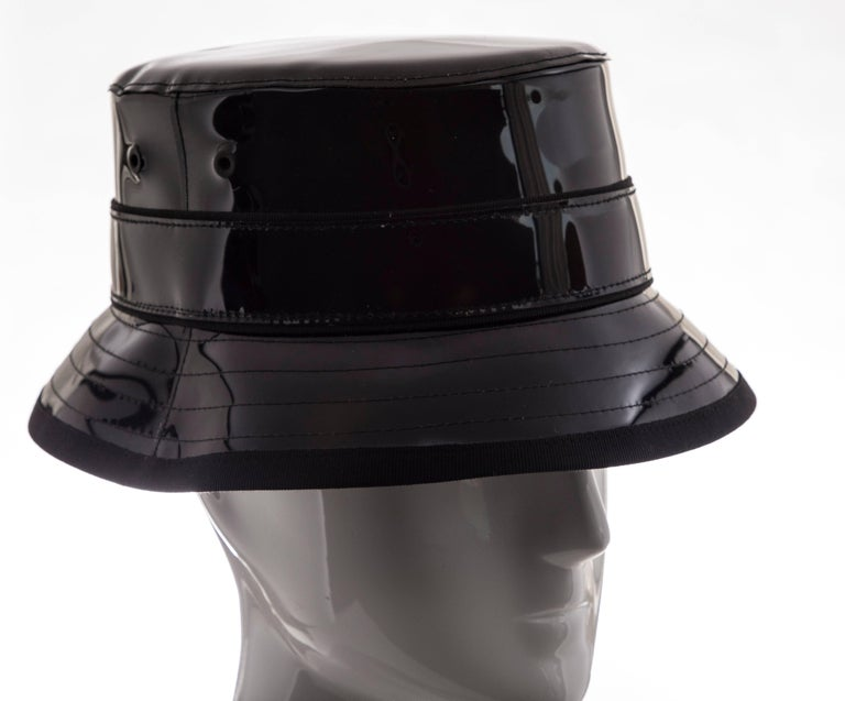 Givenchy Riccardo Tisci Runway Men's Black Patent Leather Bucket Hat,Spring 2017 For Sale 8