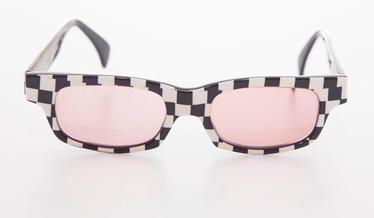 Alain Mikli Paris, Circa 1980's checkerboard sunglasses.