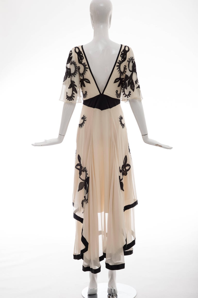 Beige Temperley London Floral Embroidered Silk Chiffon Evening Dress, Spring 2005 For Sale