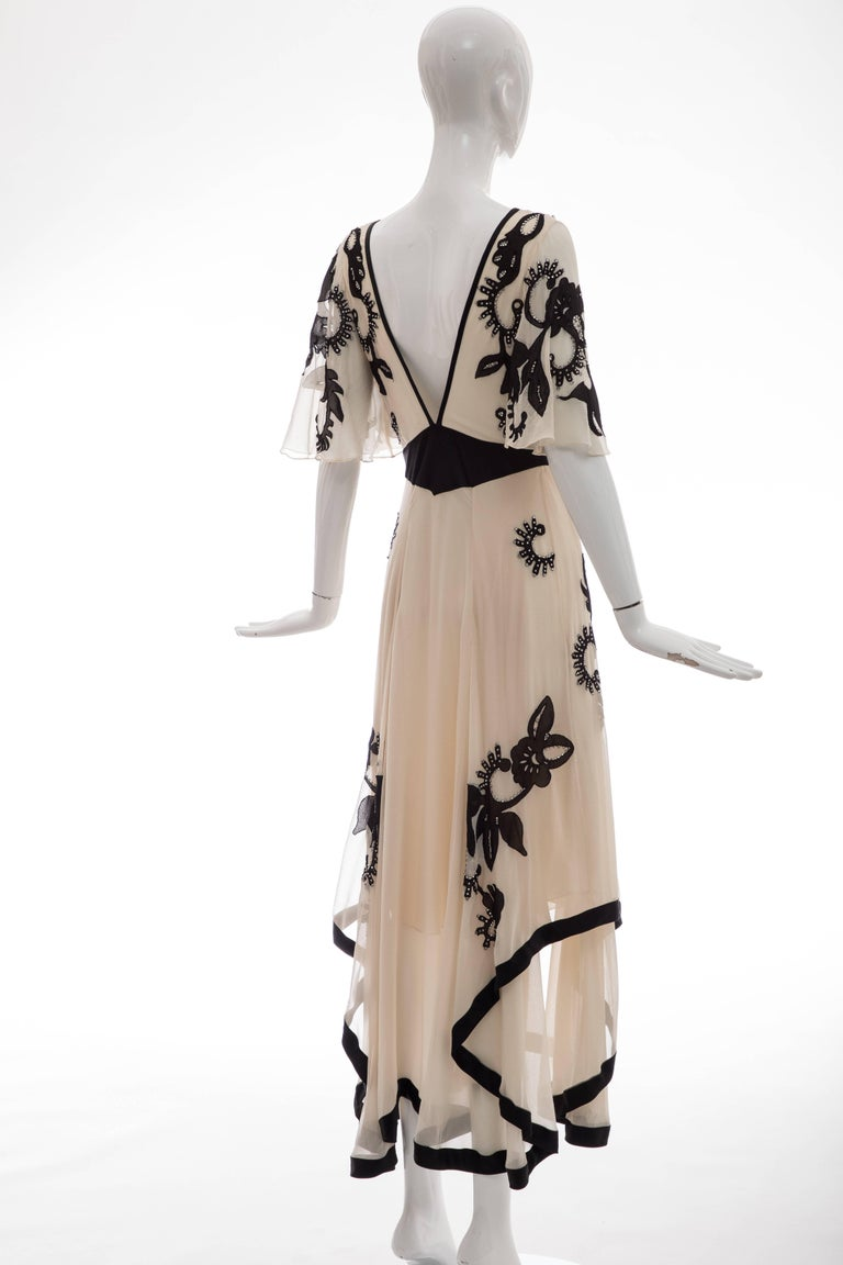 Temperley London Floral Embroidered Silk Chiffon Evening Dress, Spring 2005 For Sale 1