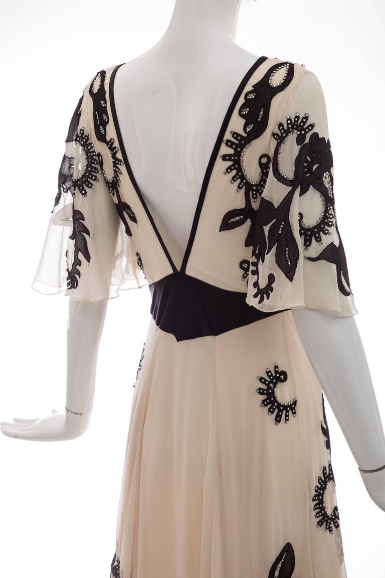 Temperley London Floral Embroidered Silk Chiffon Evening Dress, Spring 2005 For Sale 3