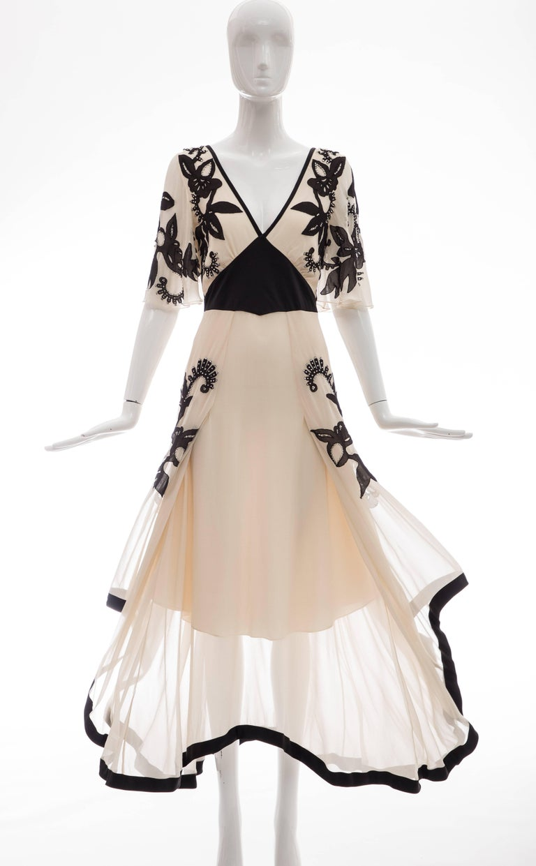 Temperley London Floral Embroidered Silk Chiffon Evening Dress, Spring 2005 For Sale 4