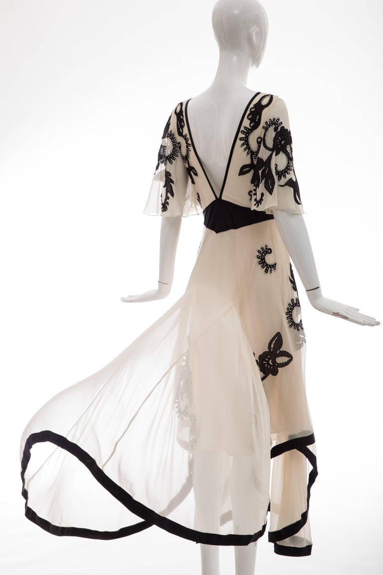Temperley London Floral Embroidered Silk Chiffon Evening Dress, Spring 2005 For Sale 5