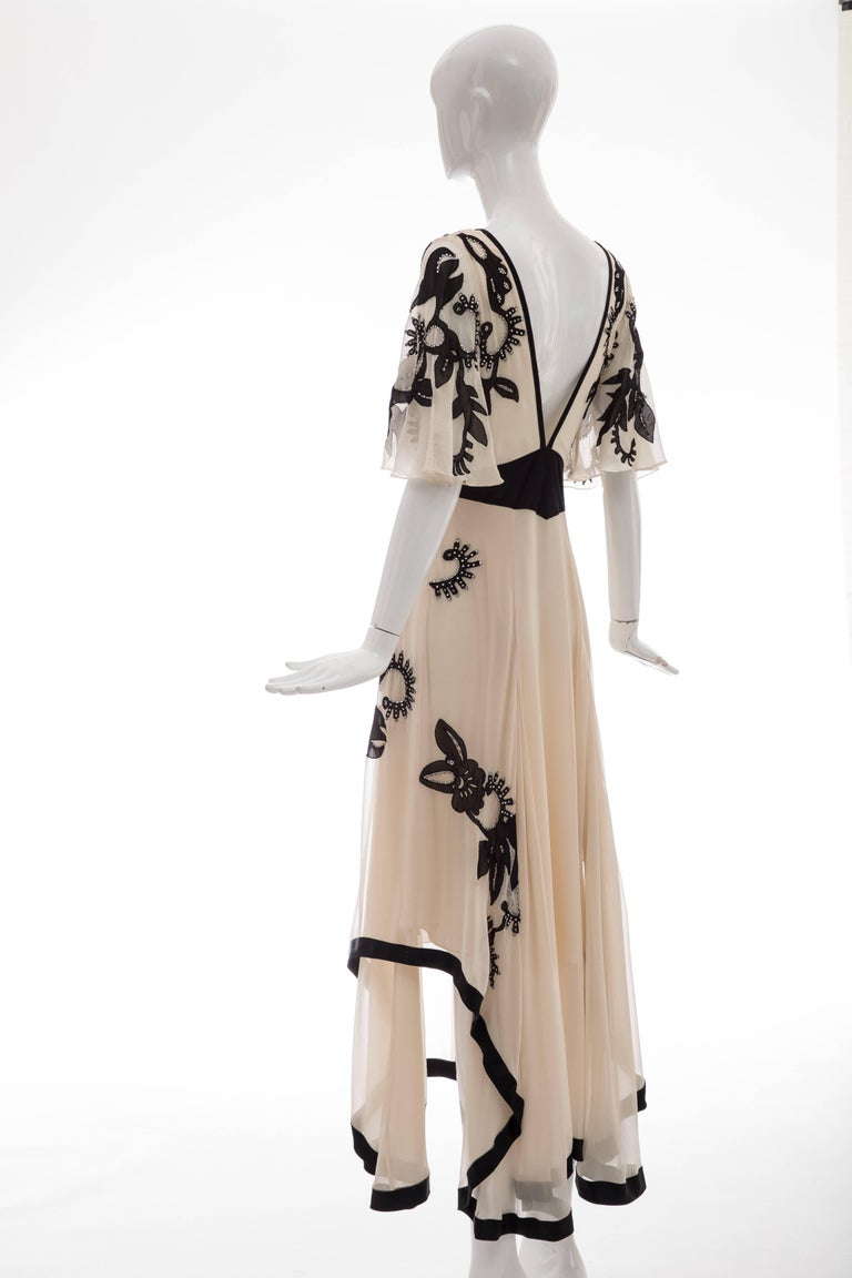 Temperley London Floral Embroidered Silk Chiffon Evening Dress, Spring 2005 For Sale 7