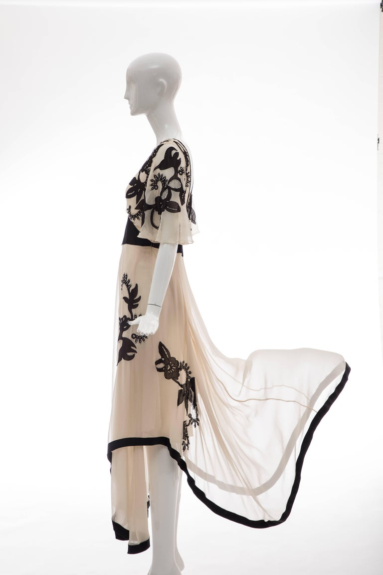 Temperley London Floral Embroidered Silk Chiffon Evening Dress, Spring 2005 For Sale 9