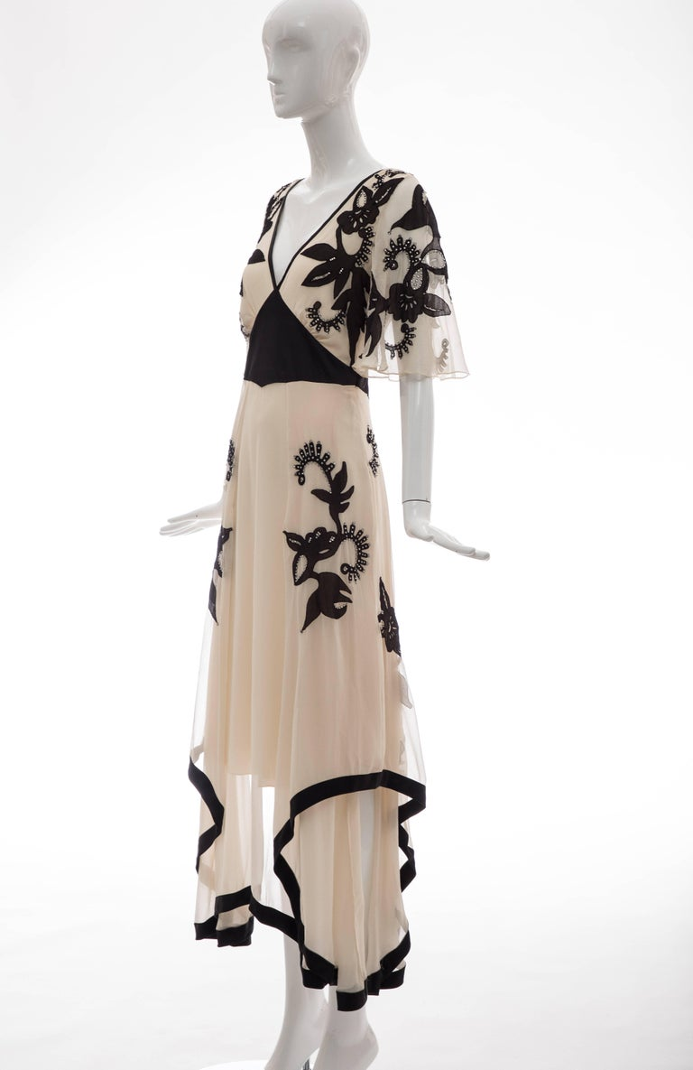 Temperley London Floral Embroidered Silk Chiffon Evening Dress, Spring 2005 For Sale 10