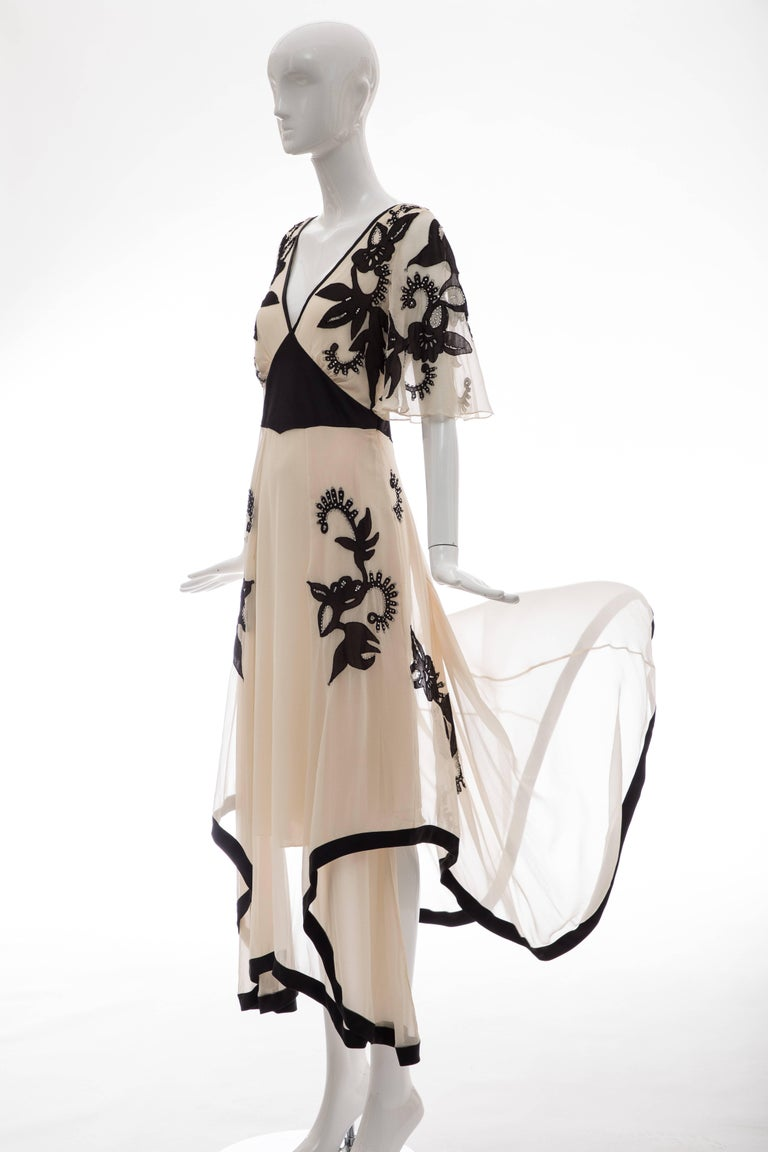 Temperley London Floral Embroidered Silk Chiffon Evening Dress, Spring 2005 For Sale 11