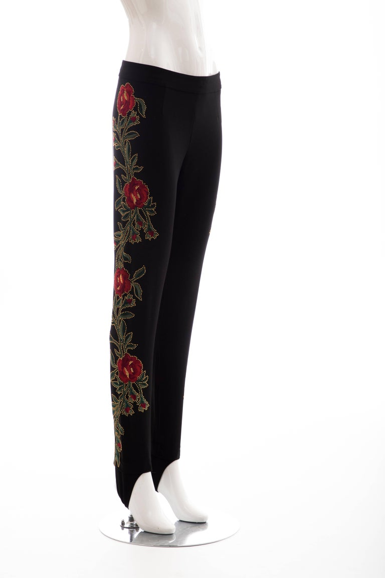 Moschino Runway Black Floral Embroidered and Gold Studded Pants, Fall 2013 In New Condition For Sale In Cincinnati, OH