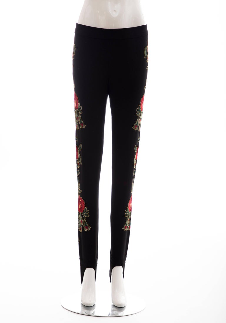 Women's or Men's Moschino Runway Black Floral Embroidered and Gold Studded Pants, Fall 2013 For Sale