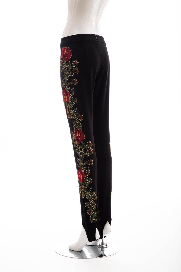 Moschino Runway Black Floral Embroidered and Gold Studded Pants, Fall 2013 For Sale 3