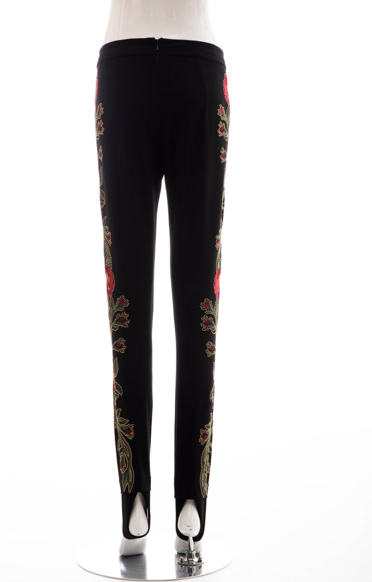 Moschino Runway Black Floral Embroidered and Gold Studded Pants, Fall 2013 For Sale 4
