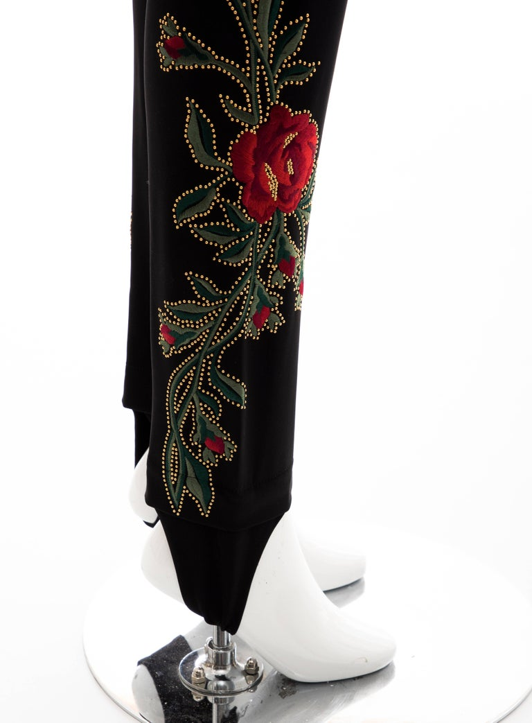 Moschino Runway Black Floral Embroidered and Gold Studded Pants, Fall 2013 For Sale 6