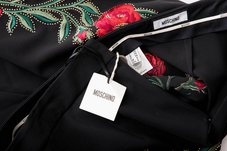 Moschino Runway Black Floral Embroidered and Gold Studded Pants, Fall 2013 For Sale 7
