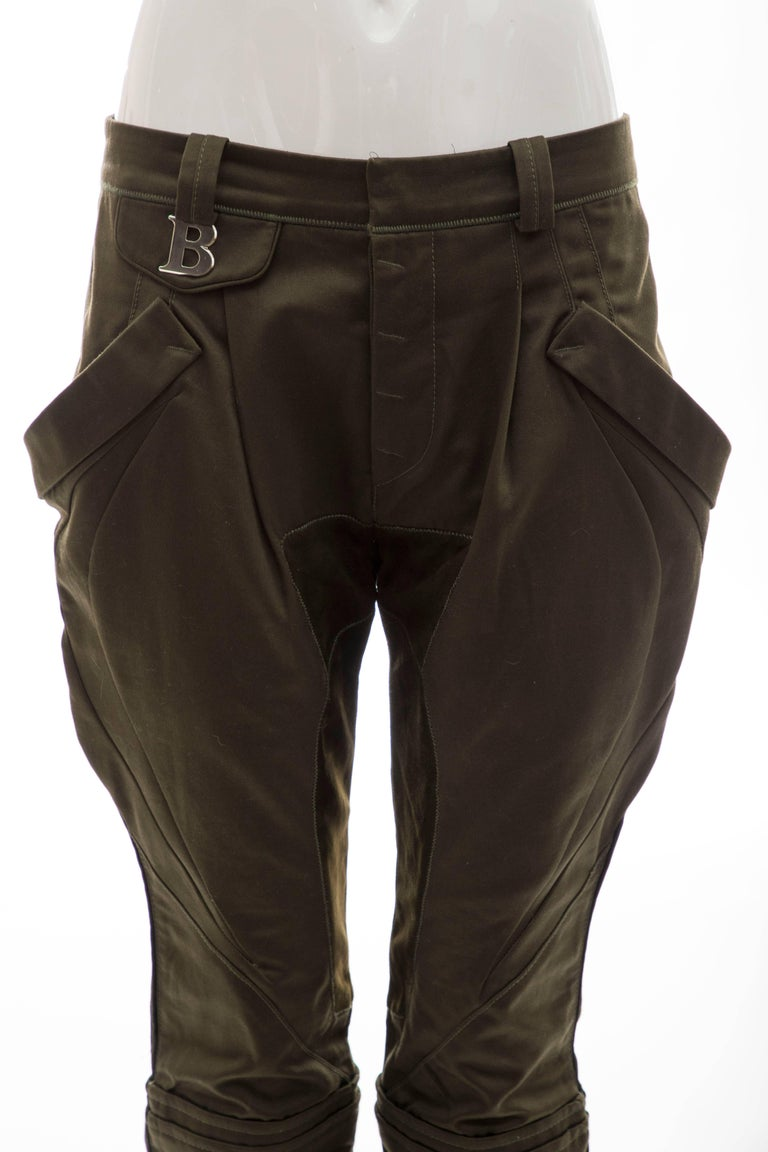 Nicolas Ghesquière for Balenciaga Runway Cotton Suede Pants, Fall 2007 In Excellent Condition For Sale In Cincinnati, OH